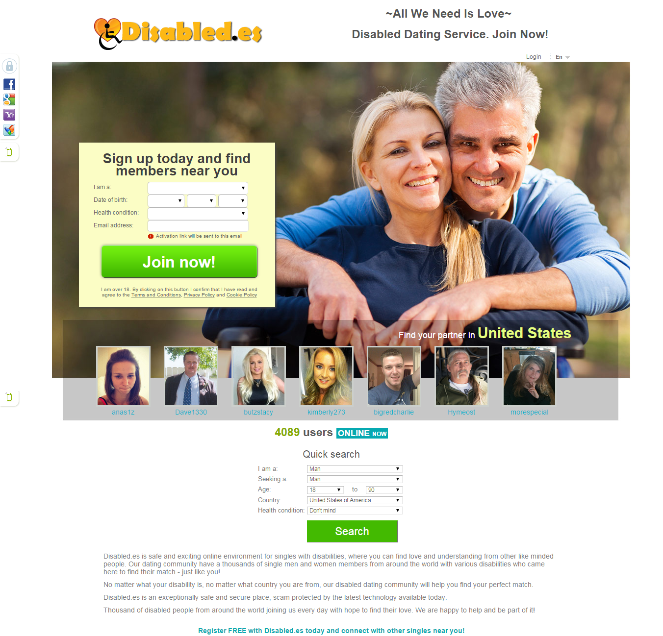 disabled dating websites free Special bridge is a dating site for people with special needs to find people with similar disabilities and developmental disabled dating published: 2013-10.